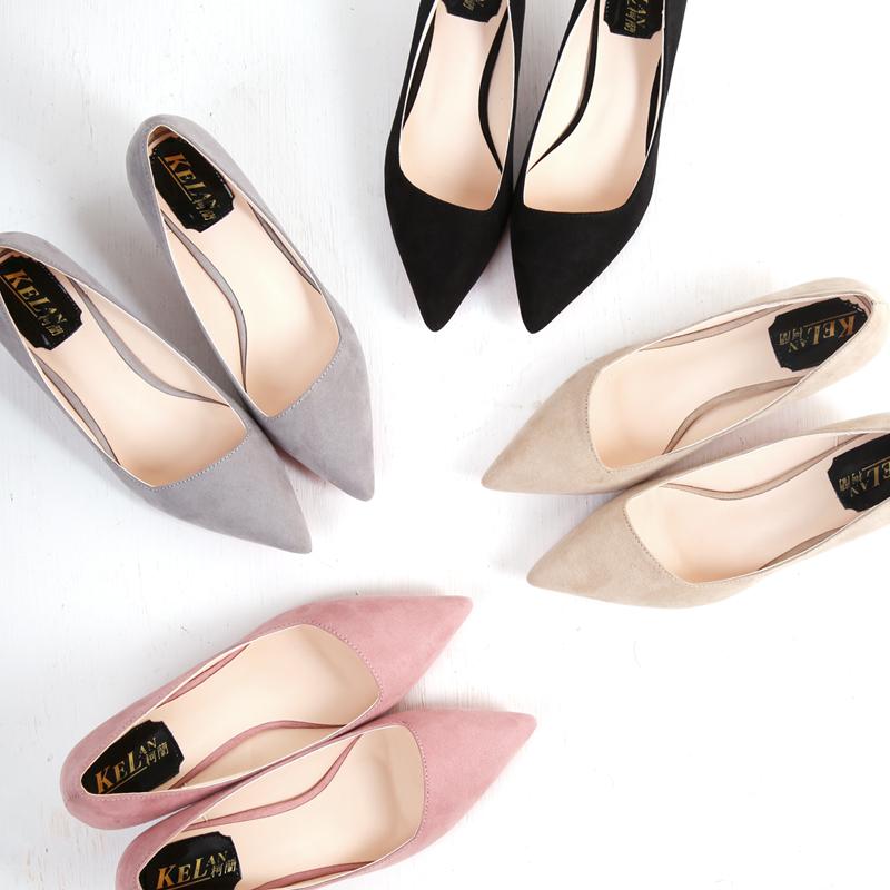 黑色尖头鞋 韩版春秋季高跟低跟鞋细跟尖头浅口中跟单鞋优雅绒面黑色工作女鞋_推荐淘宝好看的黑色尖头鞋