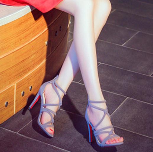欧美罗马鞋 欧洲站2016夏季新款 欧美细跟罗马风 交叉绑带性感露趾高跟凉鞋女_推荐淘宝好看的欧美罗马鞋