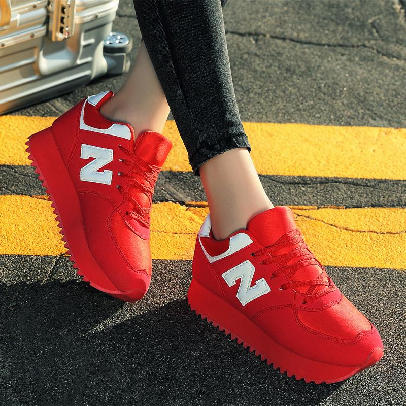 红色松糕鞋 秋季新款红色女生运动鞋小红鞋厚底松糕女士秋鞋内增高女鞋韩版潮_推荐淘宝好看的红色松糕鞋