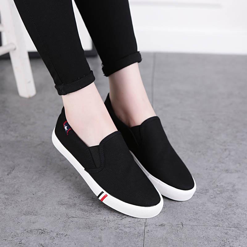 白色帆布鞋 秋季小白鞋白色帆布鞋女韩版厚底一脚蹬懒人鞋女学生布鞋休闲女鞋_推荐淘宝好看的白色帆布鞋