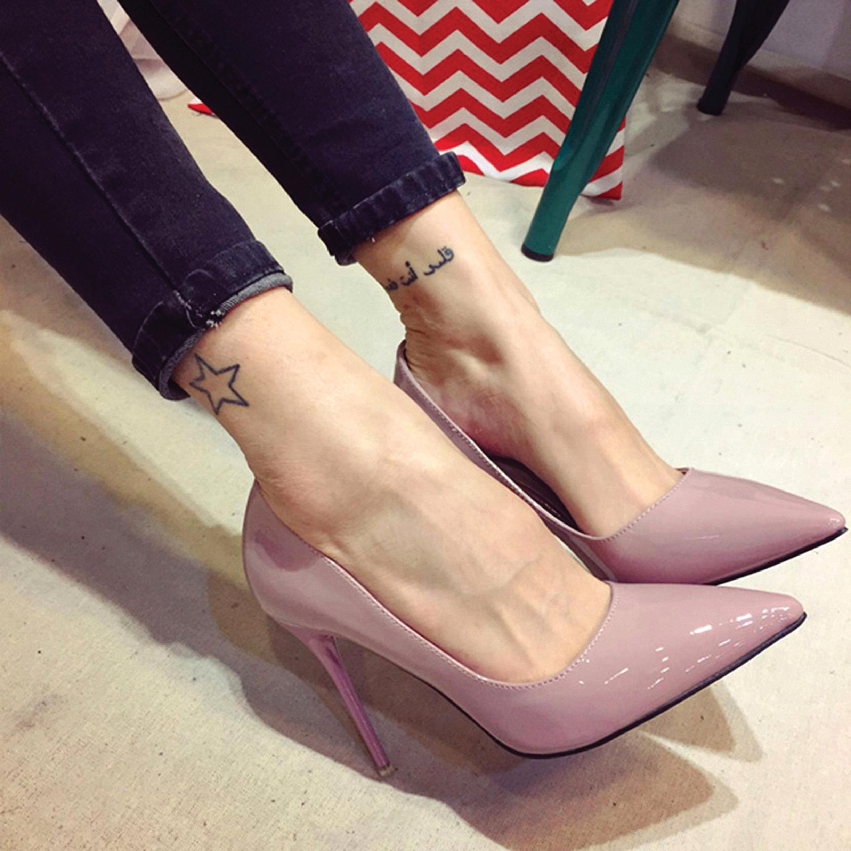欧美款尖头鞋 欧美12cm裸粉色尖头高跟鞋超细跟公主鞋女鞋漆皮浅口工作鞋单鞋_推荐淘宝好看的欧美尖头鞋