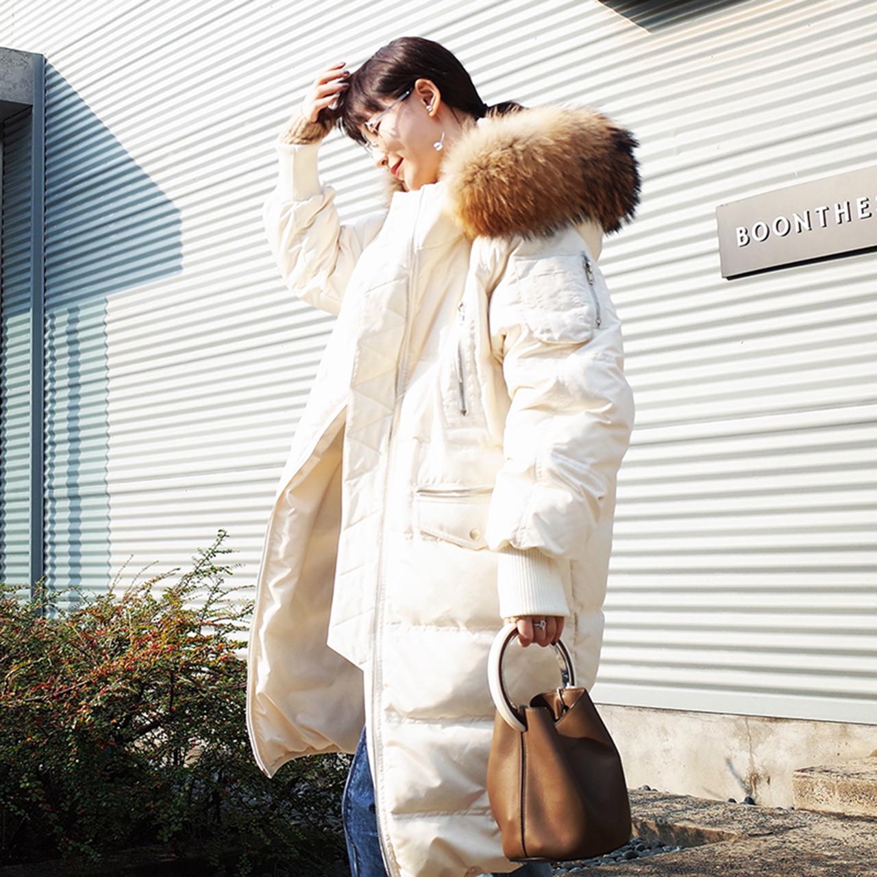 粉红色羽绒服 【13C】2016冬季90白鸭绒真毛领连帽长款纯色羽绒服外套女 EK07_推荐淘宝好看的粉红色羽绒服