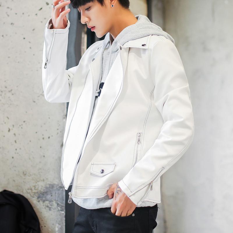男士朋克皮衣 秋冬新款韩版黑白色PU皮夹克男士朋克皮衣white leather jacket_推荐淘宝好看的男朋克皮衣