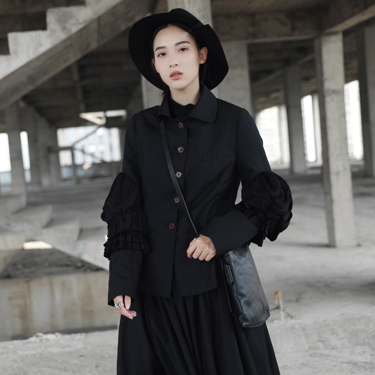 黑色小西装 SIMPLE BLACK 暗黑风个性泡泡袖造型修身小西装外套_推荐淘宝好看的黑色小西装