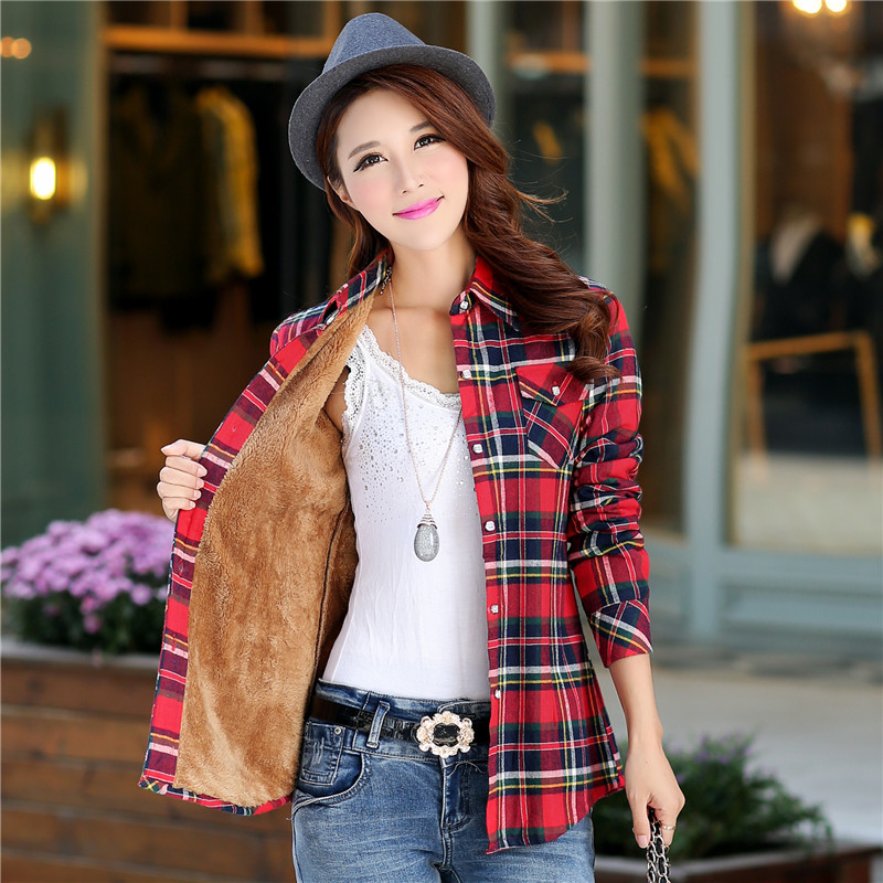 韩版衬衫 冬装新款韩版修身女士加绒衬衫  纯棉加厚格子保暖衬衣 大码外套_推荐淘宝好看的女韩版衬衫