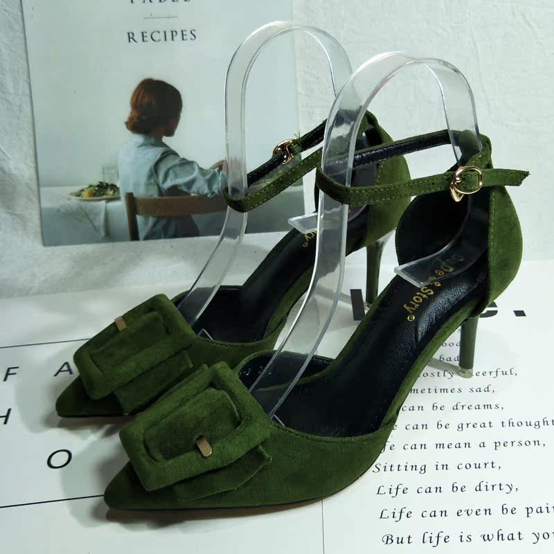 绿色高跟鞋 2017春秋新款韩版高跟鞋细跟尖头浅口女鞋绿色中空一字扣女单鞋潮_推荐淘宝好看的绿色高跟鞋
