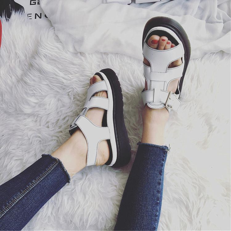 罗马鞋 2017凉鞋女夏季韩国朴信惠同款真皮女鞋子平底中跟百搭学生罗马鞋_推荐淘宝好看的女罗马鞋