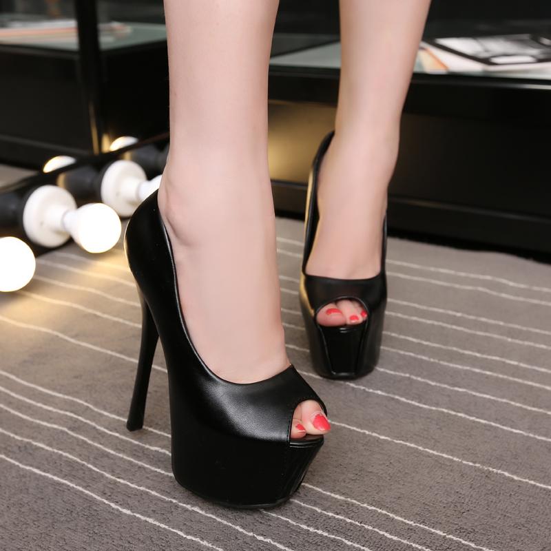 白色鱼嘴鞋 2017新款超高跟鞋小码细跟单鞋15公分鱼嘴鞋白色简约气质女鞋16CM_推荐淘宝好看的白色鱼嘴鞋
