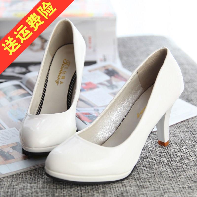 白色高跟单鞋 大码女鞋41-43中跟圆头高跟鞋细跟防水台红黑白色浅口单鞋3-5-7cm_推荐淘宝好看的女白色高跟单鞋