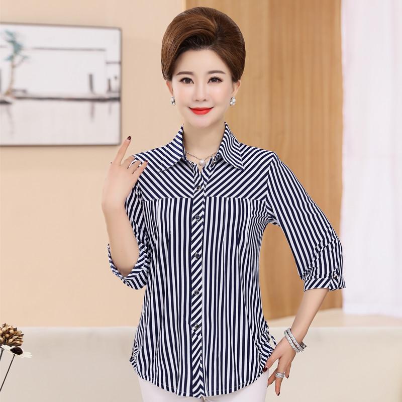条纹衬衫 妈妈装秋装长袖条纹衬衫中年妇女士40-50岁衬衣中老年人奶奶上衣_推荐淘宝好看的女条纹衬衫