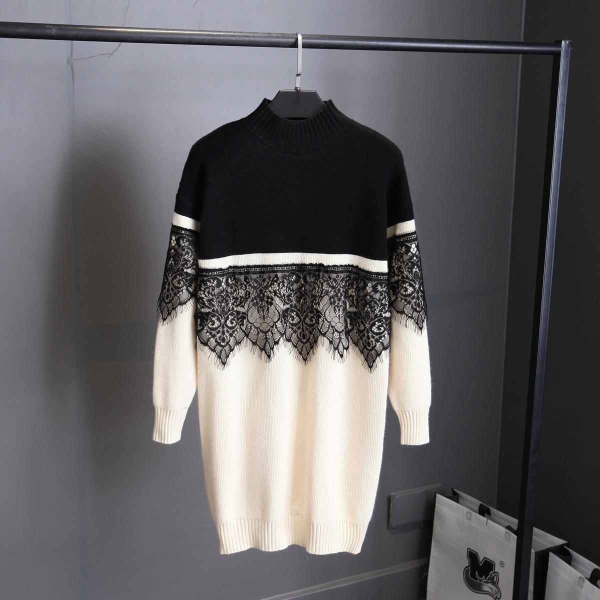 黑色蕾丝连衣裙 冬季新款欧洲站宽松蕾丝拼接撞色中长款毛衣女长袖打底针织连衣裙_推荐淘宝好看的黑色蕾丝连衣裙