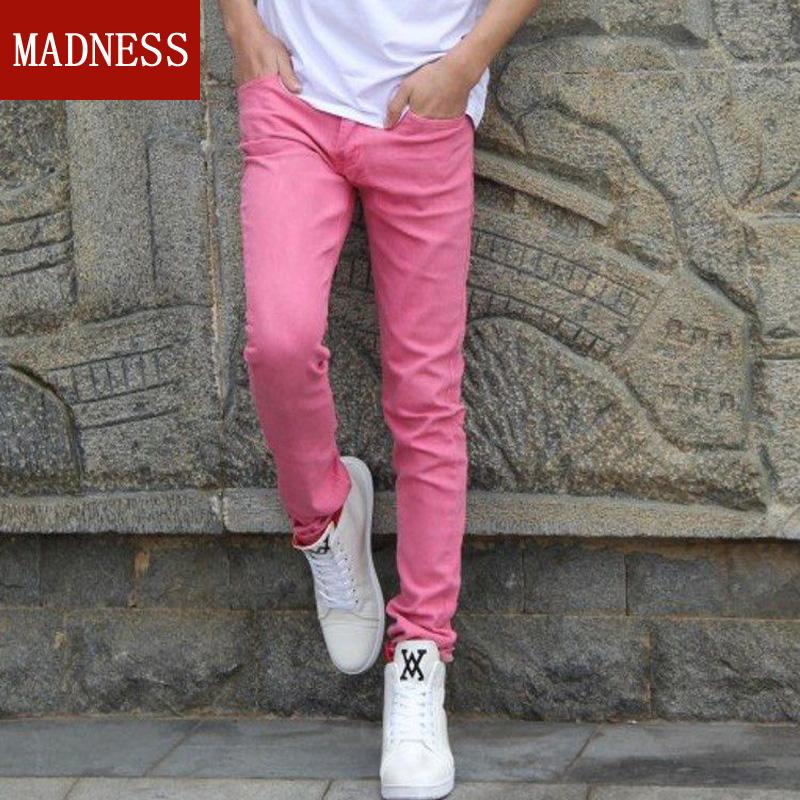 粉红色牛仔裤 春季韩版弹力紧身长裤子青少年铅笔小脚裤男士粉色牛仔裤修身型潮_推荐淘宝好看的粉红色牛仔裤