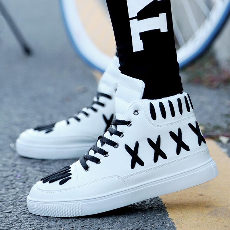 白色高帮鞋 秋季学生板鞋男士休闲鞋韩版运动鞋潮流高帮鞋男鞋子白色街舞潮鞋_推荐淘宝好看的白色高帮鞋