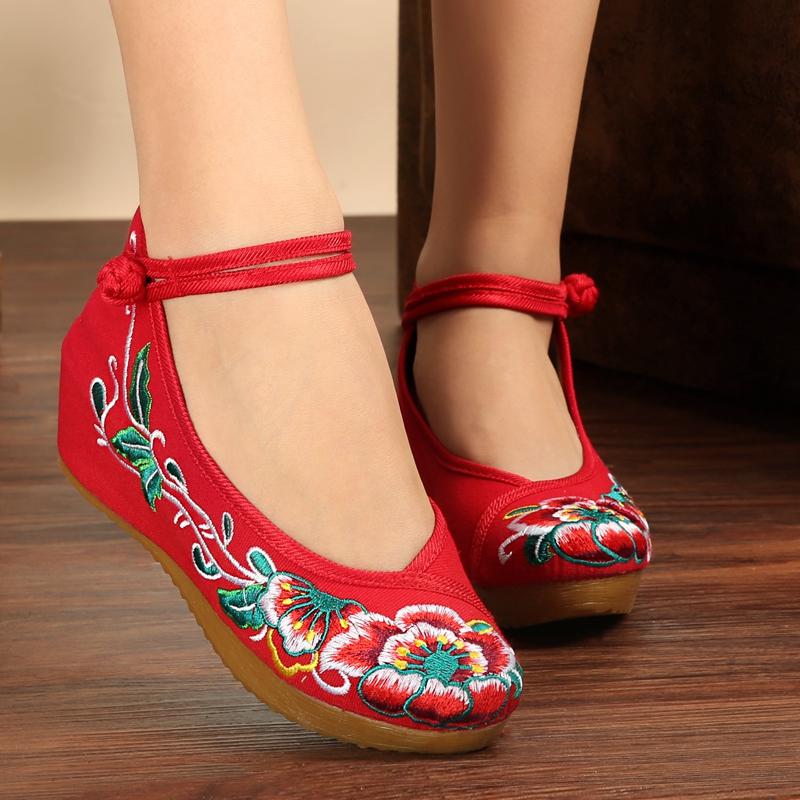 女士坡跟鞋 族韵北京女布鞋春秋款广场舞民族风拼色绑带绣花鞋内增高坡跟单鞋_推荐淘宝好看的女坡跟鞋