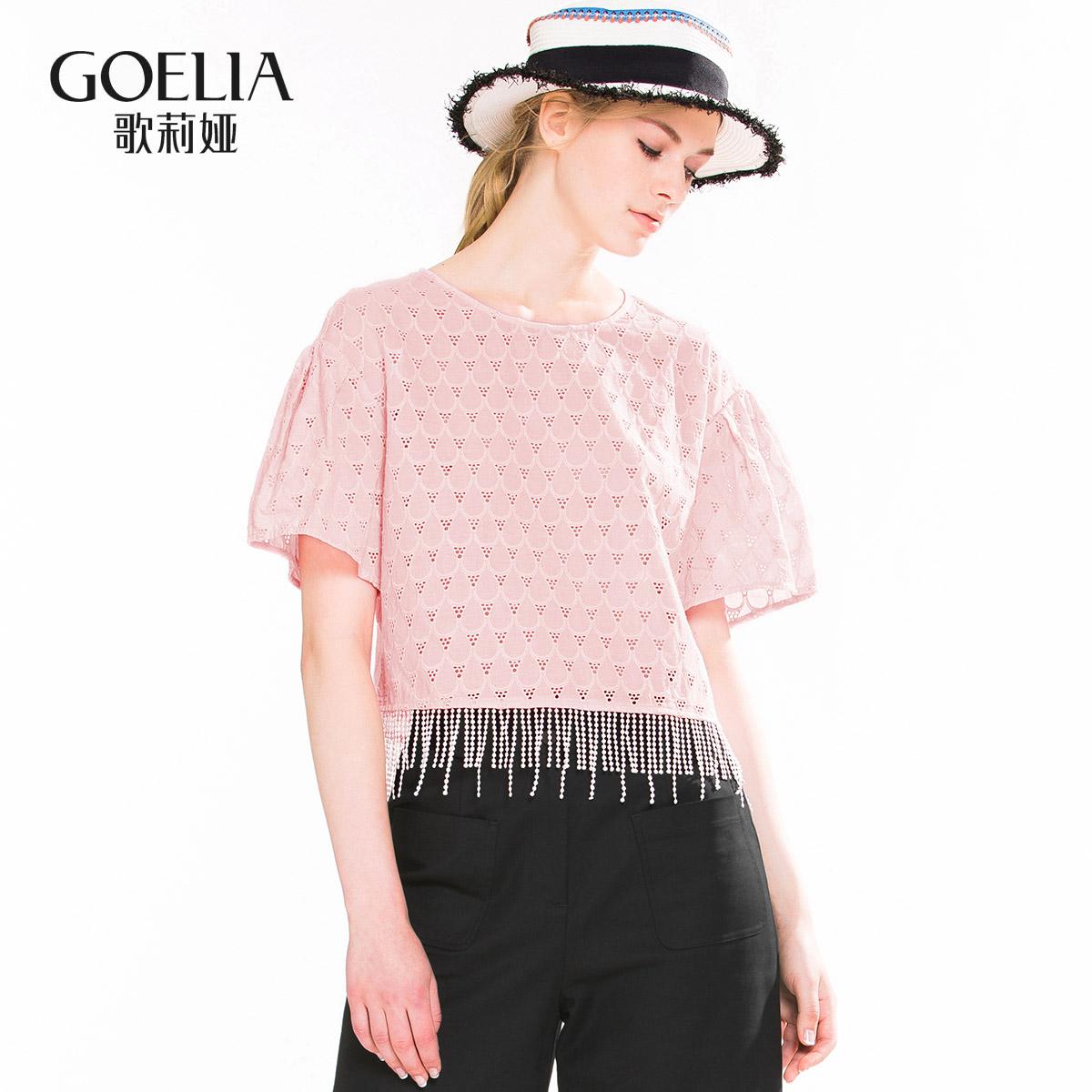 歌莉娅女装 GLORIA歌莉娅女装 宽松H型雪纺衫圆领蕾丝衬衫女162R3B140_推荐淘宝好看的歌莉娅