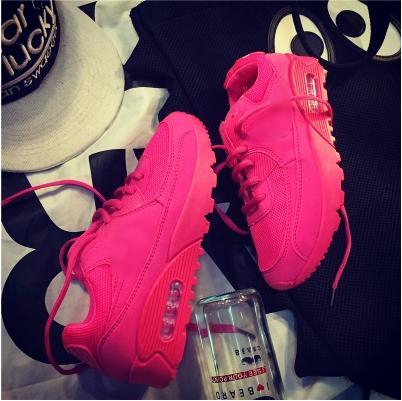 粉红色厚底鞋 春秋夏季中跟厚底运动休闲跑步鞋骚粉红色透气增高学生女鞋子单鞋_推荐淘宝好看的粉红色厚底鞋