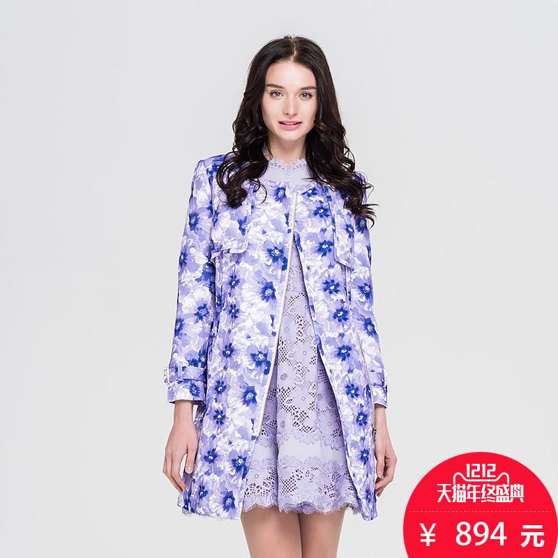 紫色风衣 PRICH衣恋旗下 秋冬季商场同款蕾丝印花外套风衣PRJT51110Q_推荐淘宝好看的紫色风衣