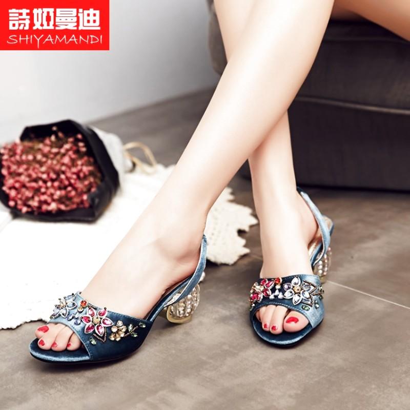 紫色罗马鞋 女时尚夏季天蓝色新品欧美串珠紫色T罗马鞋凉鞋女鞋_推荐淘宝好看的紫色罗马鞋