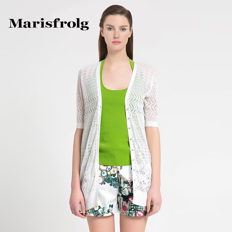 玛丝菲尔正品代购 Marisfrolg玛丝菲尔镂空时尚中长款薄款针织开衫外套女专柜正品_推荐淘宝好看的玛丝菲尔