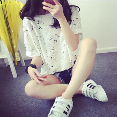 女士短袖t恤 夏季新款韩版学生缕空短袖T恤宽松显瘦喷墨体恤半袖女装上衣服潮_推荐淘宝好看的女女短袖t恤