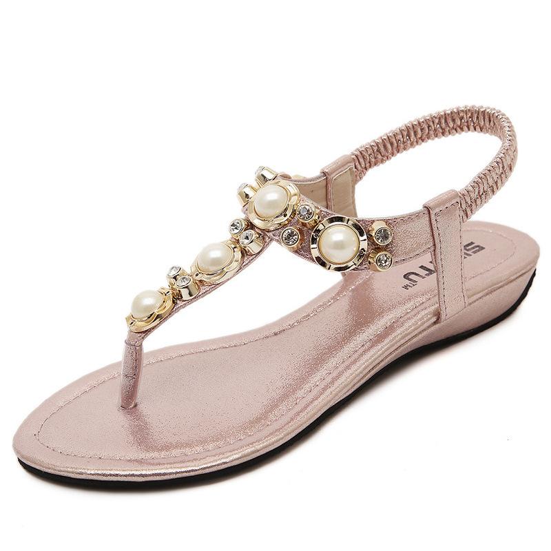 凉鞋 2016新款韩版黑银金粉色波西米亚夹趾平跟低跟串珠人字拖女鞋凉鞋_推荐淘宝好看的女凉鞋