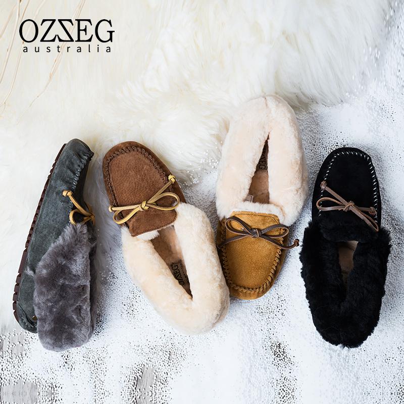 真皮平底鞋 OZZEG豆豆鞋女秋冬季真皮保暖加绒加厚皮毛一体棉鞋女孕妇鞋平底_推荐淘宝好看的女真皮平底鞋