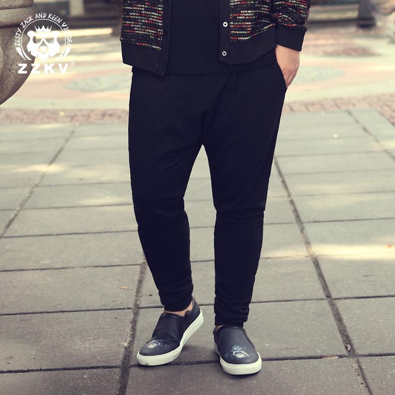 红色休闲裤 ZZKV加肥加大码男装潮胖子男长裤黑色弹力休闲裤显瘦小脚裤男裤子_推荐淘宝好看的红色休闲裤