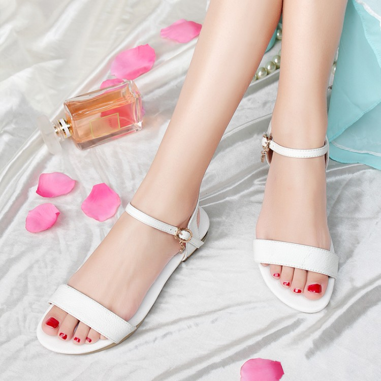 白色罗马鞋 罗马韩版凉鞋女鞋子夏季平底真皮平跟甜美少女学生40白色41大码43_推荐淘宝好看的白色罗马鞋