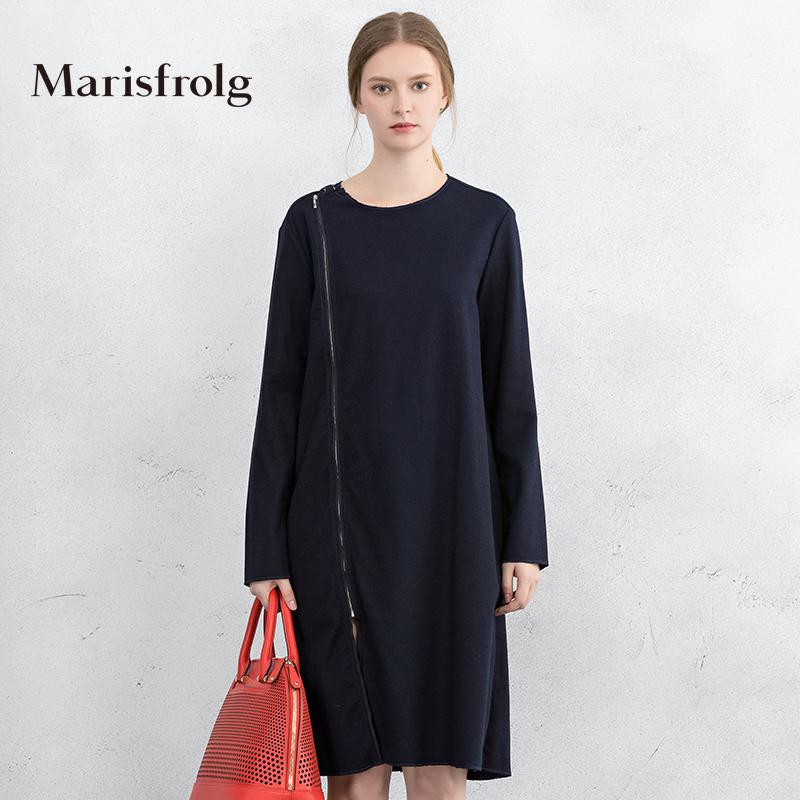 玛丝菲尔女装 Marisfrolg玛丝菲尔 时尚飘带长款羊毛连衣裙 专柜正品秋冬新女_推荐淘宝好看的玛丝菲尔