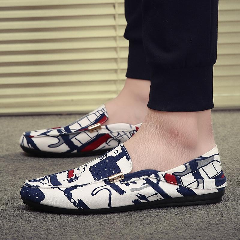 涂鸦豆豆鞋 夏季男士涂鸦休闲帆布豆豆鞋韩版学生布鞋社会小伙懒人两用半拖鞋_推荐淘宝好看的涂鸦豆豆鞋
