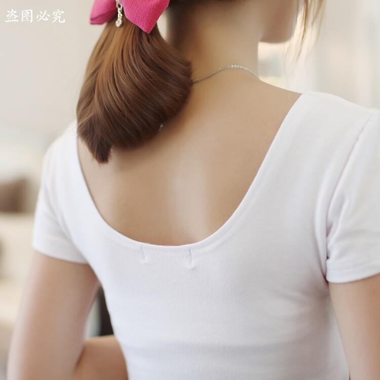 女短袖t恤 【天天特价】紧身半截袖白色露背u领t恤女低领短袖性感大领打底衫_推荐淘宝好看的女短袖t恤