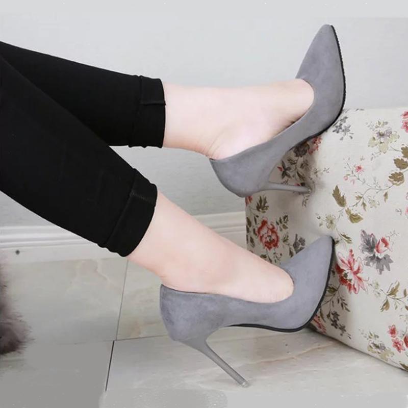 非主流高跟鞋 2017新款尖头高跟鞋细跟浅口女鞋绒面百搭时尚黑色单鞋职业鞋婚鞋_推荐淘宝好看的女时尚 高跟鞋