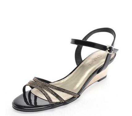 水钻凉鞋 Daphne达芙妮夏季新款凉鞋时尚水钻细带坡跟女凉鞋1014303061_推荐淘宝好看的女水钻凉鞋