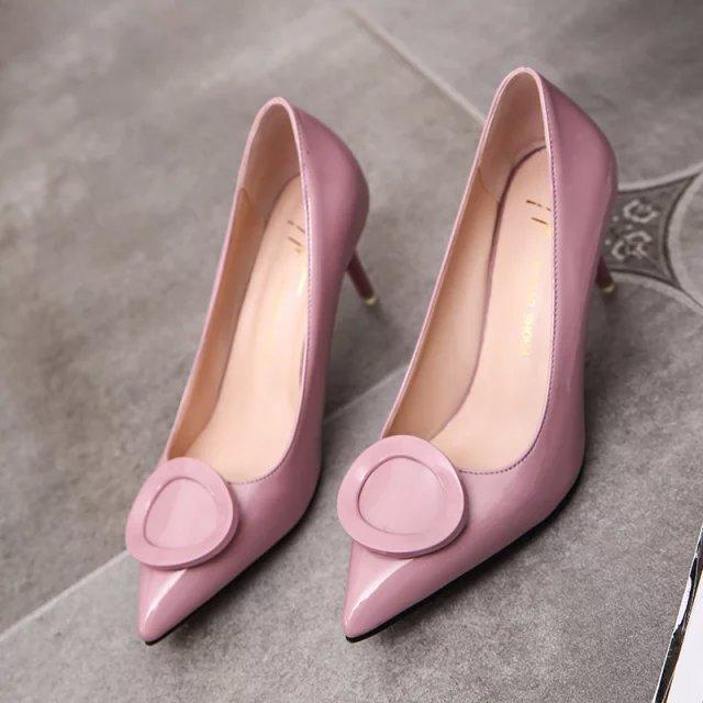 欧美款尖头鞋 欧美风复古圆圈7CM尖头鞋 女人味大红色墨绿色漆皮防滑高跟鞋单鞋_推荐淘宝好看的欧美尖头鞋
