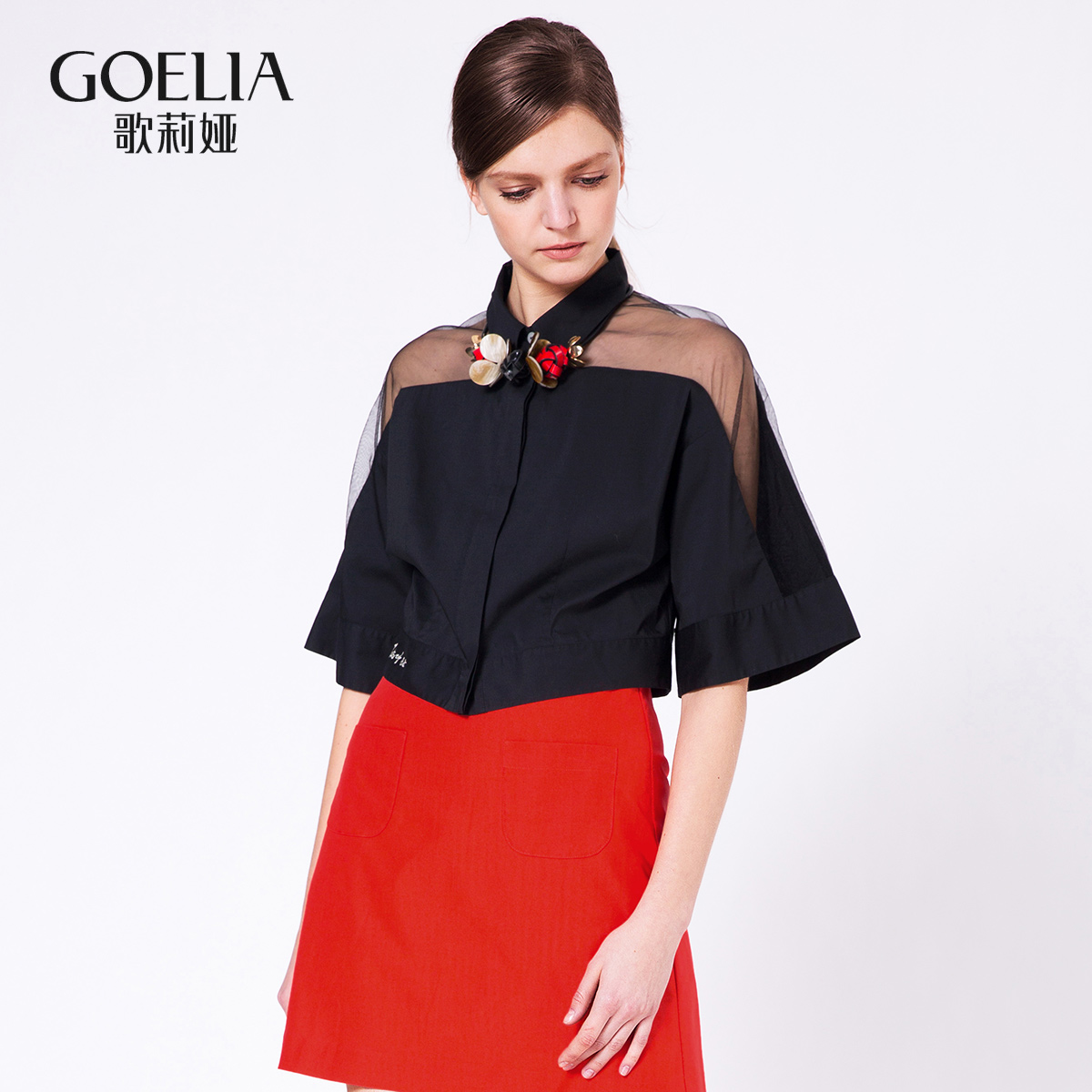 歌莉娅女装 GLORIA歌莉娅女装宽松H型短袖梭织衫衬衫164C3B060_推荐淘宝好看的歌莉娅