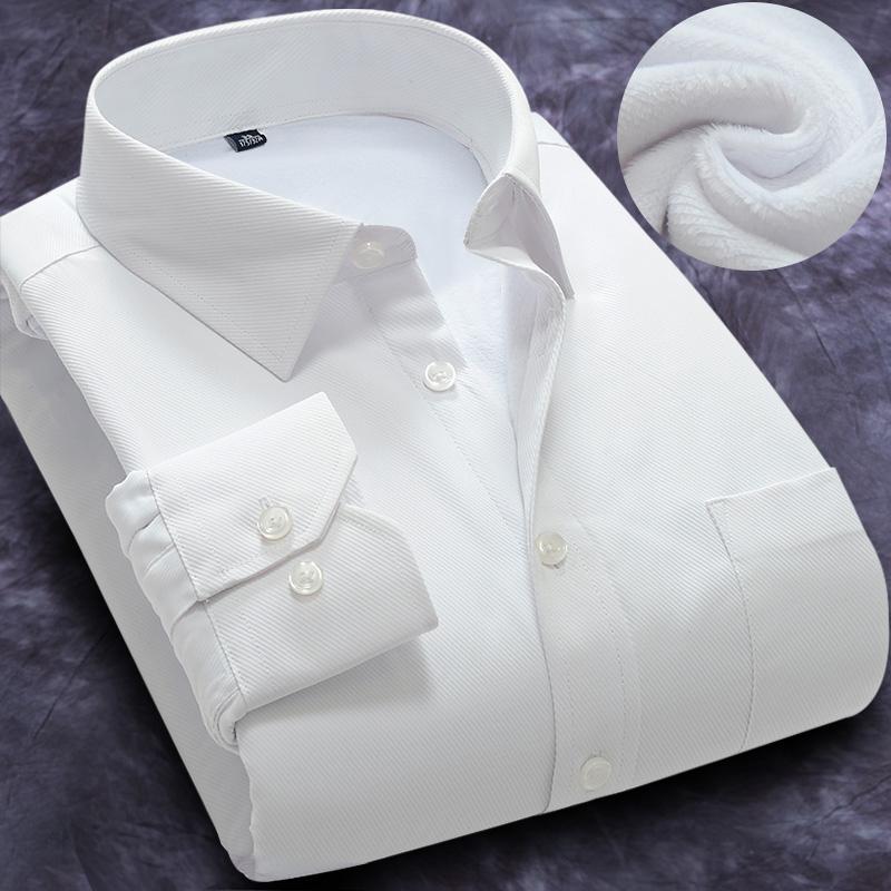 紫色衬衫 冬季男士保暖白衬衫修身免烫商务职业正装棉纯色长袖加绒加厚衬衣_推荐淘宝好看的紫色衬衫