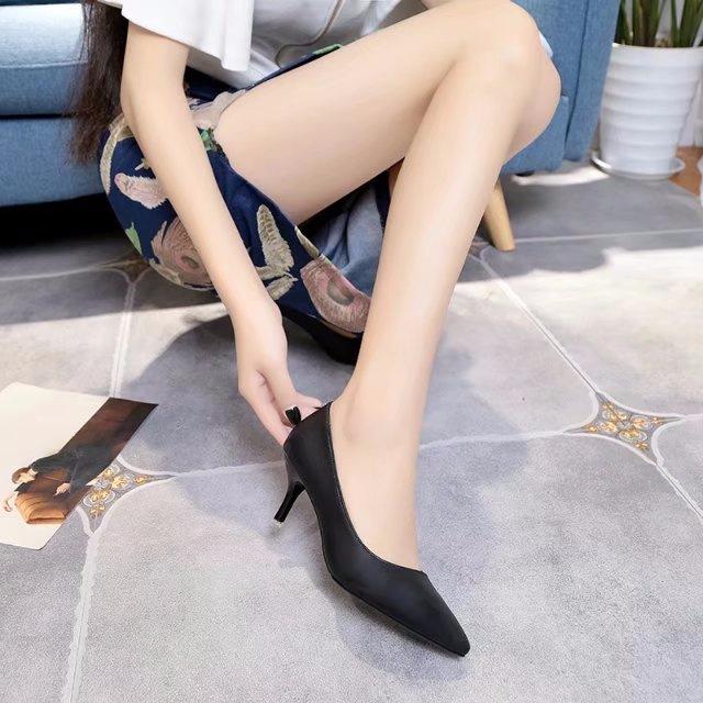 时尚单鞋 细跟高跟鞋尖头浅口小根根鞋6厘米时尚学生黑色秋季单鞋女2017女_推荐淘宝好看的女时尚单鞋