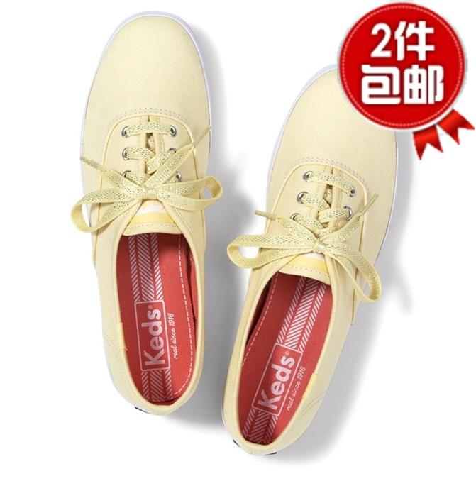 黄色帆布鞋 Taylor ked*嫩黄色银丝鞋带热卖系带经典款学院派甜美女鞋帆布鞋_推荐淘宝好看的黄色帆布鞋