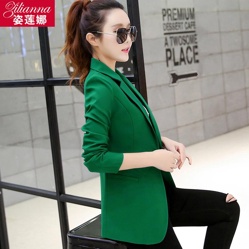 绿色小西装 2017春装新款韩版修身小西装女士百搭时尚短款小外套春秋上衣大码_推荐淘宝好看的绿色小西装