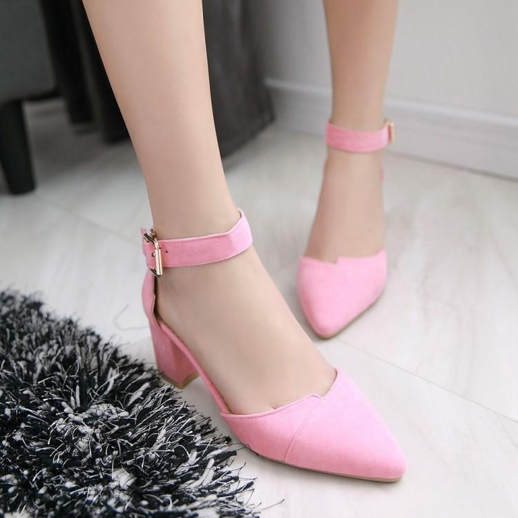 粉红色凉鞋 2017夏天的新款粉红色凉鞋女夏季韩版学生尖头粗跟中跟高跟女鞋子_推荐淘宝好看的粉红色凉鞋