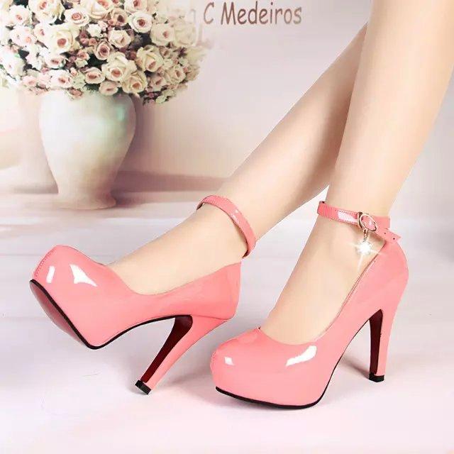 粉红色单鞋 15夏季新款女鞋防水台粉红色漆皮高跟鞋时尚扣带粗跟圆头11cm单鞋_推荐淘宝好看的粉红色单鞋