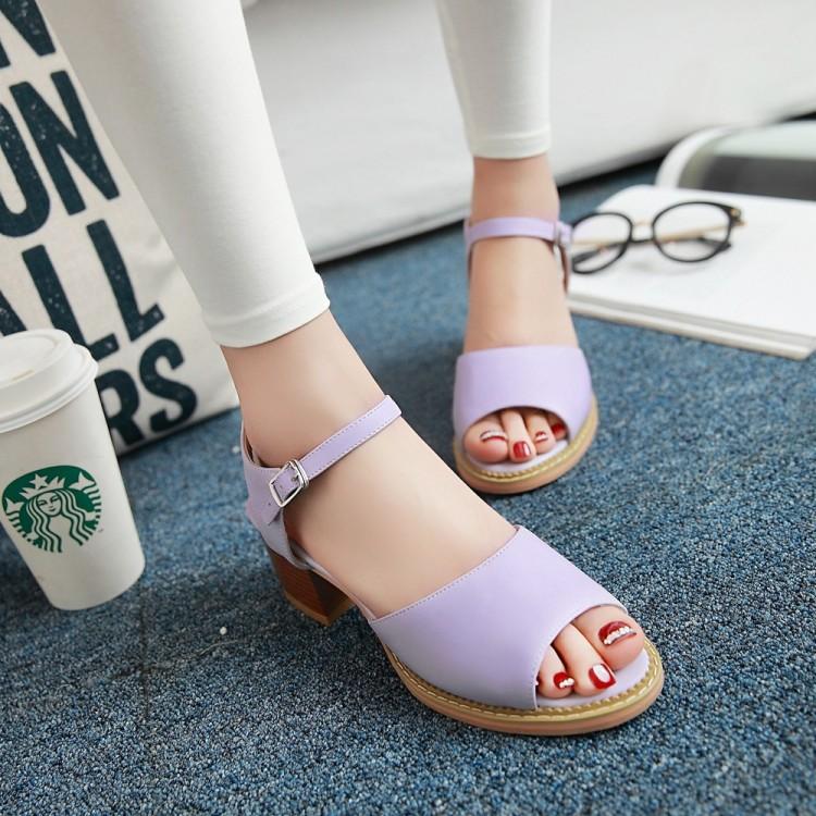 紫色鱼嘴鞋 凉鞋女夏中跟粗跟包跟女鞋子鱼嘴新款韩版潮夏季大码紫色40粉色41_推荐淘宝好看的紫色鱼嘴鞋