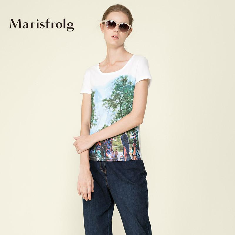 玛丝菲尔女装 Marisfrolg玛丝菲尔 棉质印花圆领修身时尚T恤 专柜正品春新女_推荐淘宝好看的玛丝菲尔