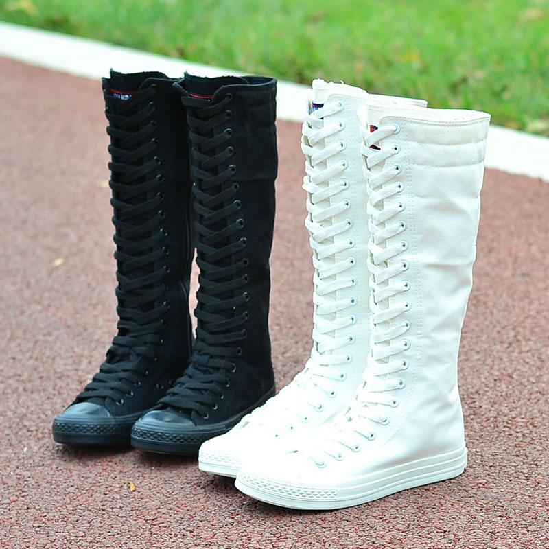 纯色帆布鞋 VIVI长筒靴侧拉链纯色帆布鞋女鞋高筒演出帆布靴子超高帮舞蹈女鞋_推荐淘宝好看的女纯色帆布鞋