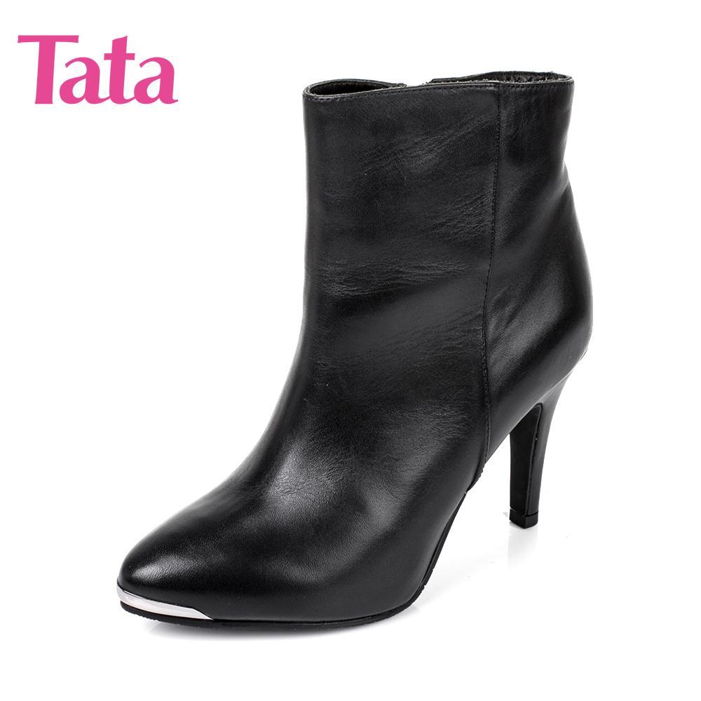 他她尖头鞋 断Tata他她女鞋冬季专柜同款小牛皮女靴真皮细跟尖头短靴2L142DD_推荐淘宝好看的他她尖头鞋