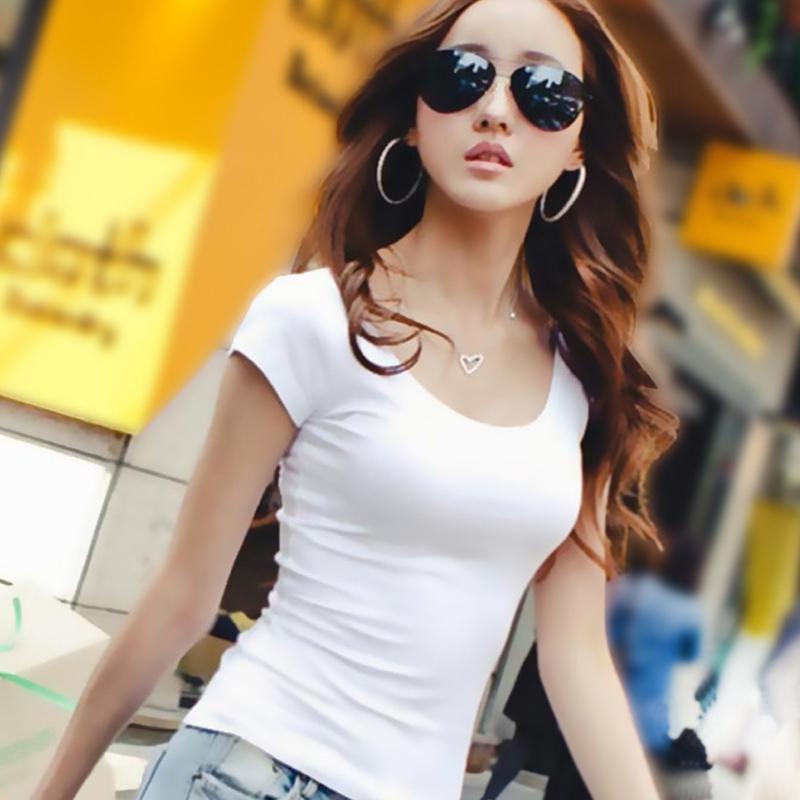 短袖t恤 2016夏季新款女装紧身纯棉t恤女短袖纯色半袖体桖修身韩范打底衫_推荐淘宝好看的女短袖t恤