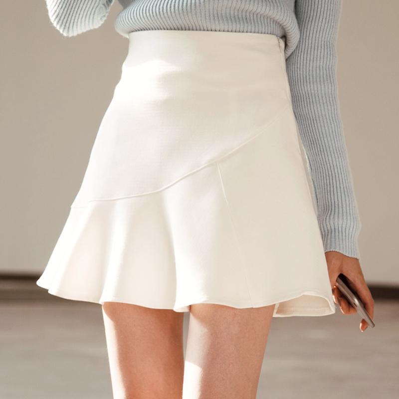 雪纺半身裙搭配 荷叶边雪纺A字裙子女学生高腰包臀伞裙 中短款白色蓬蓬鱼尾半身裙_推荐淘宝好看的雪纺半身裙