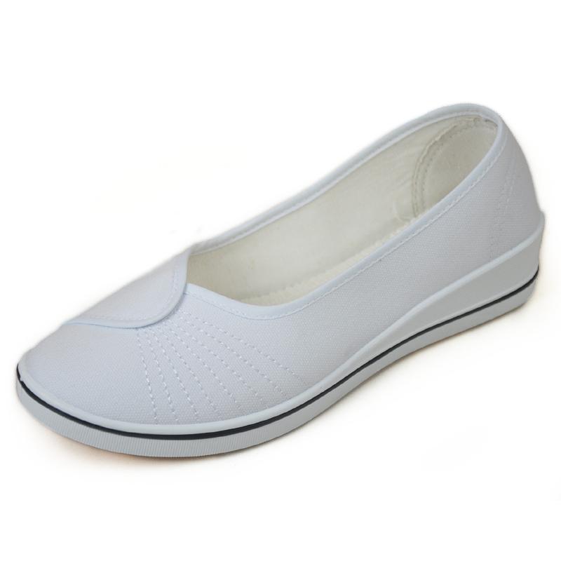 白色坡跟鞋 老北京布鞋女鞋春秋低跟坡跟单鞋白色护士鞋医院工作鞋 66981_推荐淘宝好看的白色坡跟鞋