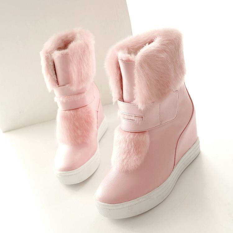 新款高跟鞋 韩版甜美兔毛雪地靴内增高厚底休闲女靴子冬季新款高跟棉鞋女短靴_推荐淘宝好看的女新款高跟鞋