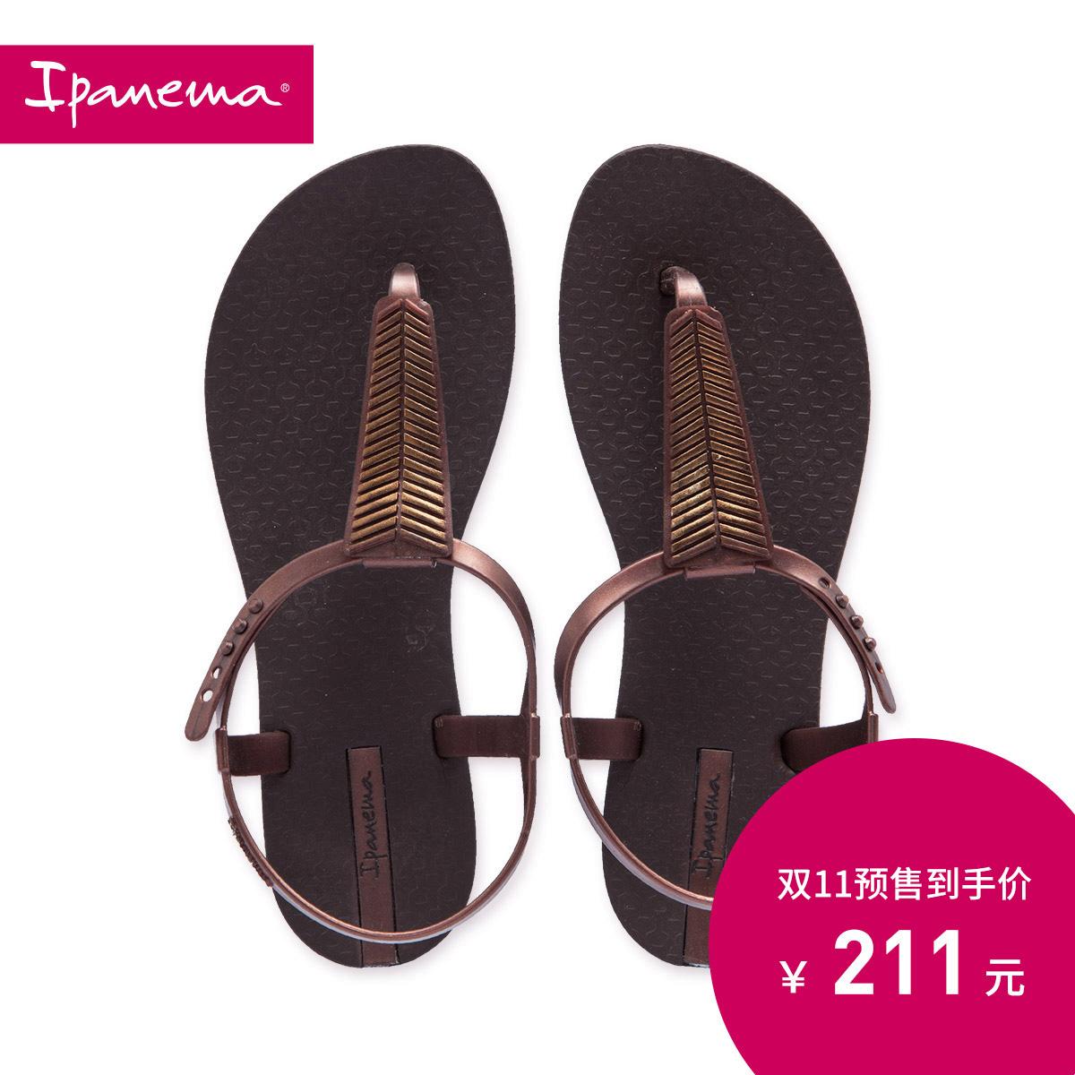 罗马女凉鞋 Ipanema依帕内玛凉鞋女夏  平底罗马风人字拖  百搭棕色沙滩鞋_推荐淘宝好看的女罗马凉鞋
